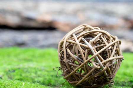 A ball of rattan, intertwined branches lies on the green grass. Close-up. Archivio Fotografico