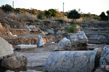 Archaeology class visiting ruins of Ancient and Biblical City of Ashkelon in Israel, Holy Land