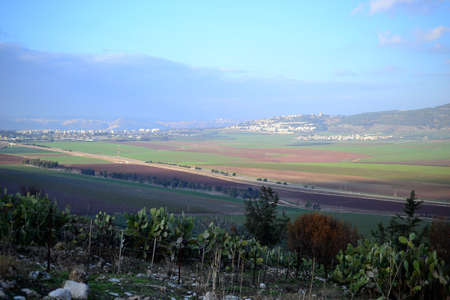 Jezreel Valley. fertile plain and inland valley south of the Lower Galilee region in Israel. Landscape