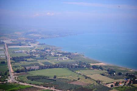 View of the sea of Galilee Kinneret lake from Mt. Arbel mountain, beautiful lake landscape, Israel, Tiberias