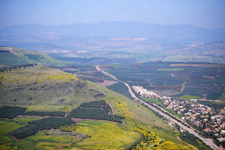 View of the sea of Galilee Kinneret lake from Mt. Arbel mountain, beautiful lake landscape, Israel, Tiberias