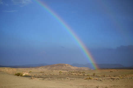 Desert Rainbow in Mitzpe Ramon, Negev desert, crater, in Israel, Near East 版權商用圖片