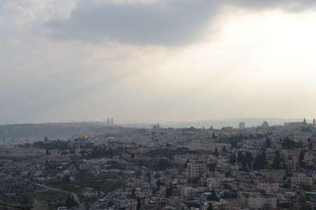 A view of old city of Jerusalem, the Temple Mount and Al-Aqsa Mosque from Mt. Scopus in Jerusalem, Israel Hebrew University