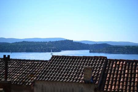 Roof top of Village around Split with sea view, Dalmatia, Croatia