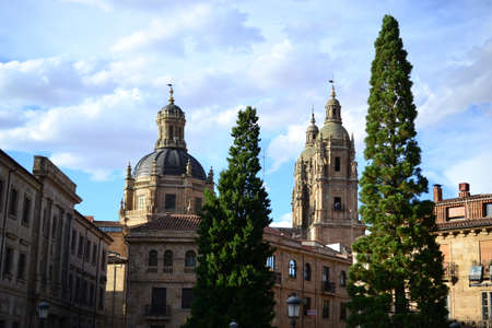 Beautiful old city of Salamanca, Spain, Cathedral and Plaza Mayor and Universidad University, Spanish architecture Stock Photo