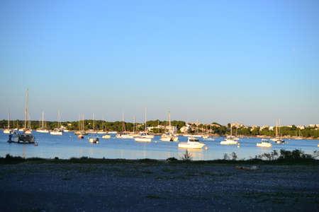 Harbor of Porto Colom and Cala dOr city, Palma Mallorca Island, Spain Banco de Imagens - 115623791