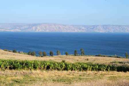 The Sea of Galilee and Capernaum viewed from the Church Of The Beatitudes, Israel