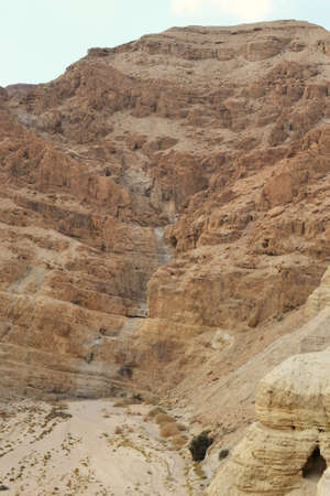 Qumran caves in Qumran National Park, where the dead sea scrolls were found