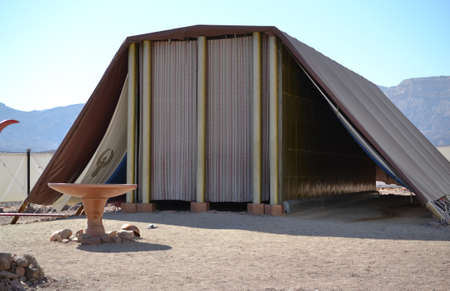 Model of Tabernacle, tent of meeting in Timna Park, Negev desert, Eilat, Israel