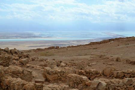 Masada - ancient fortification, desert fortress of Herod in Judean desert, view of dead sea, Israel