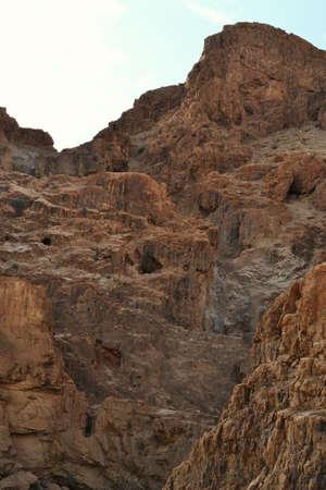 Qumran caves in Qumran National Park, where the dead sea scrolls were found, Judean desert hike, Israel Stock Photo