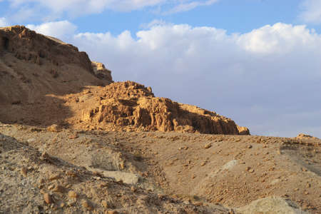 Qumran caves in Qumran National Park, where the dead sea scrolls were found, Judean desert hike, Israel 写真素材