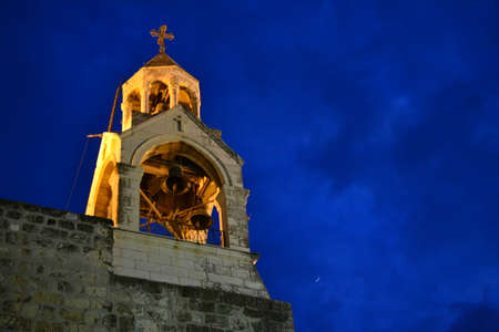 Illuminated Nativity church at night in Bethlehem, Palestine, Israel