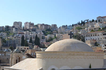 City of Nazareth in Israel, Basilica of annunciation, where Mary received the message of conceiving Jesus