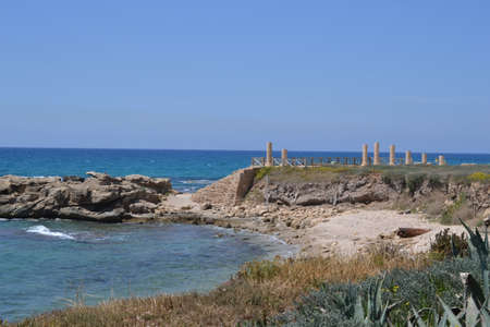 Coast landscape of Caesarea Maritima, Mediterranean Sea, Israel Stock Photo