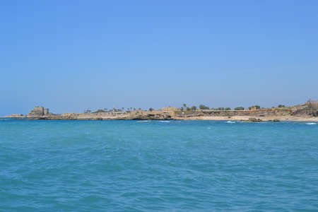 Coast landscape of Caesarea Maritima, Mediterranean Sea, Israel Standard-Bild