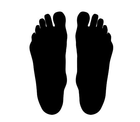 adult footprint: Human feets isolated on white background Stock Photo