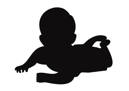 black baby girl: Baby silhouette Illustration