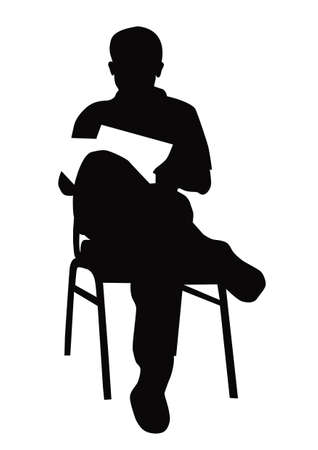 Businessman reading documents Illustration