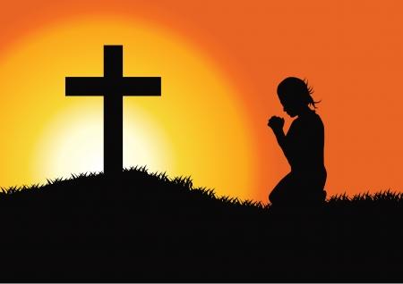 Gebed bij het Kruis Stock Illustratie