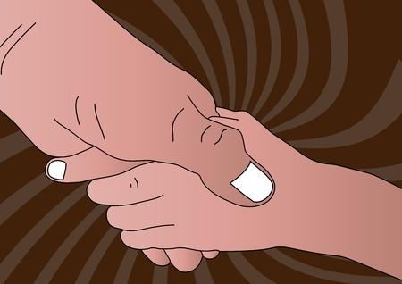 caring hands: Handshake Illustration