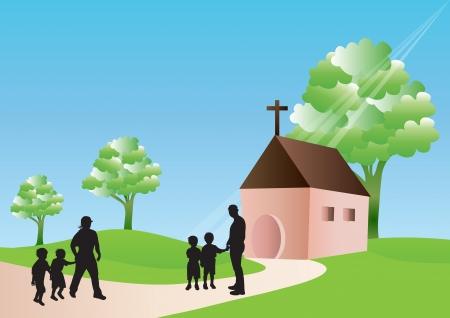 family praying: Ir a la iglesia
