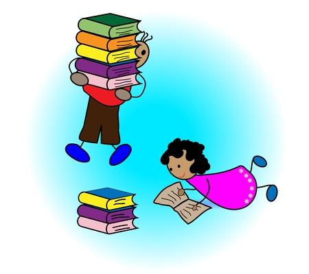 storytime: Children reading book Illustration