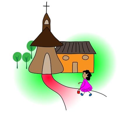 教会に行くの女の子  イラスト・ベクター素材