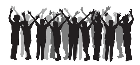 raised hand: People silhouette