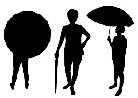 Silhouette of people with umbrella Vector