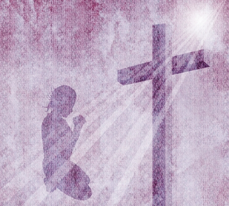 praying people: cross on vintage background