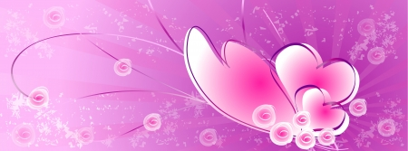 Heart and  rose on purple background-facebook cover