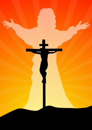Resurrection of jesus christ vector