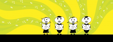 chorus: little boy and girl singing a song-facebook cover Illustration