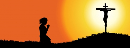 woman praying: Prayer Silhouette-facebook cover Illustration