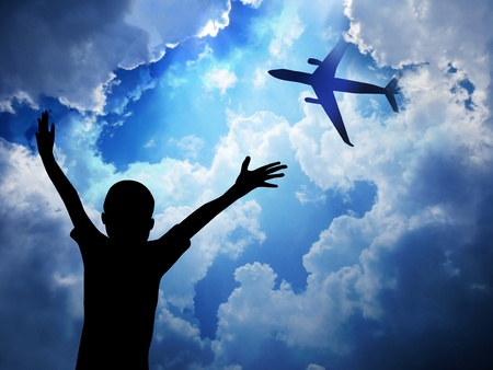 Boy and Aeroplane                           Stock Photo