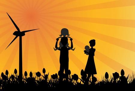 windfarm: Silhouette di famiglia in campo con windmil Vettoriali