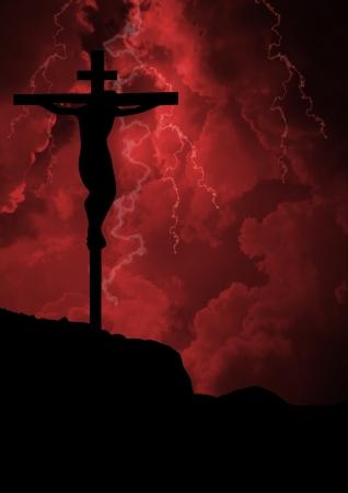cruz roja: La crucifixi�n de Jes�s
