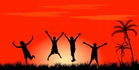 alabando a dios: Feliz la gente saltando