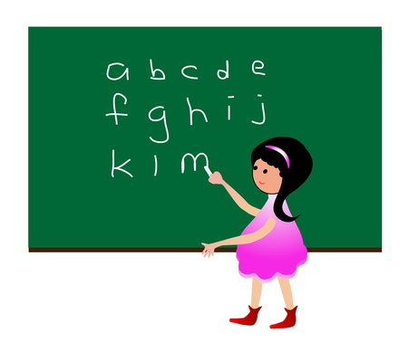 Girl learning alphabet Vector