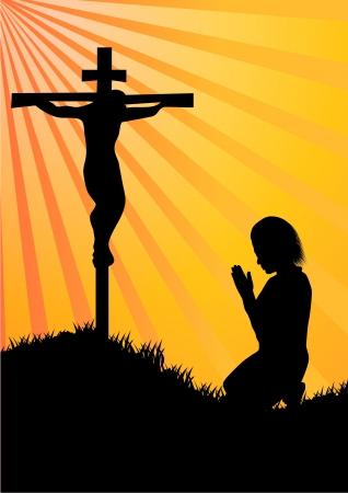 jesus on cross: Silueta Oración