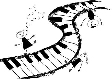Kinderen en piano toetsenbord Stock Illustratie