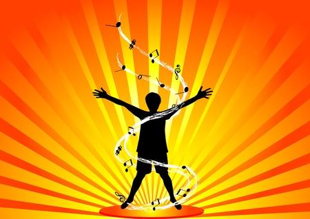 praise god: Happy person silhouette Illustration