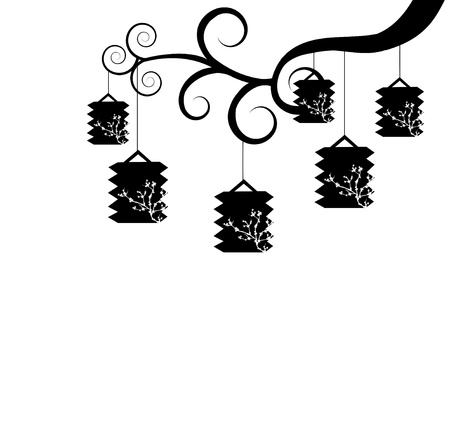 Black and white lanterns Vector