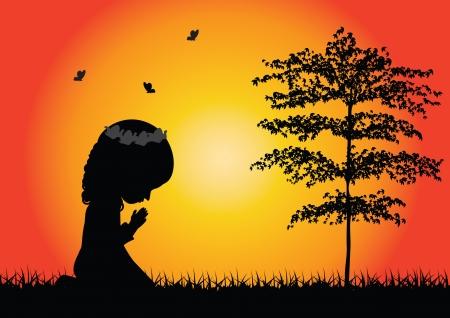 ajoelhado: Pouco silhueta da menina rezando Ilustração
