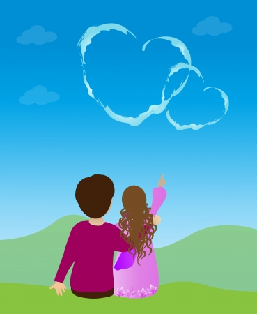 Couple and cloud heart Vector