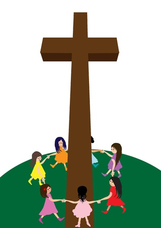 Children with Cross Vector