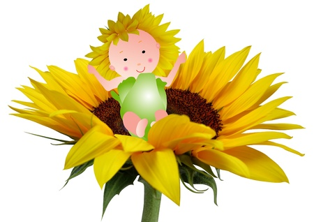 Adorable baby sitting in a big sunflower photo