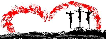 kruzifix: Jesus Christus am Kreuz Illustration