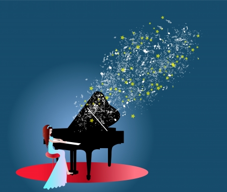 Woman playing piano music Vector